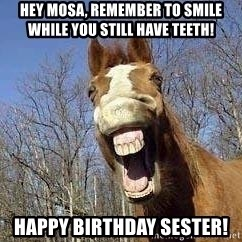 Horse - Hey Mosa, remember to smile while you still have teeth! Happy birthday sester!