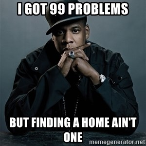Jay Z problem - I got 99 problems But finding a home ain't one
