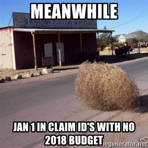 Tumbleweed - Meanwhile Jan 1 in claim ID's with no 2018 Budget