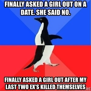 Socially Awkward to Awesome Penguin - Finally asked a girl out on a date. She said no.  Finally asked a girl out after my last two ex's killed themselves