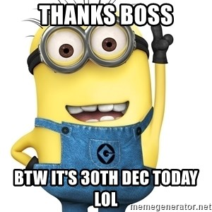 Despicable Me Minion - Thanks Boss BTW it's 30th Dec Today LOL
