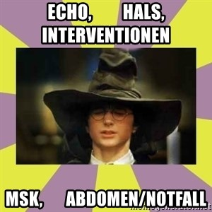 Harry Potter Sorting Hat - ECHO,         HALS,      Interventionen MSK,       Abdomen/Notfall