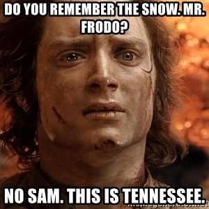 Frodo  - Do you remember the snow. MR. Frodo? No sam. This is Tennessee.