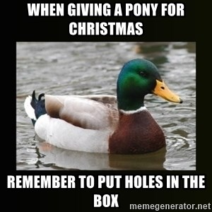 good advice duck - when giving a pony for christmas remember to put holes in the box