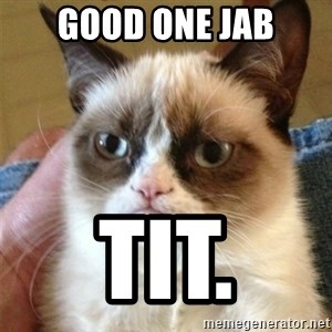 Grumpy Cat  - Good one Jab Tit.