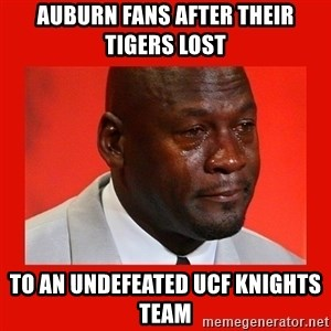 crying michael jordan - Auburn fans after their Tigers lost to an undefeated UCF Knights team