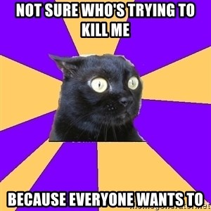 Anxiety Cat - Not sure who's trying to kill me Because everyone wants to
