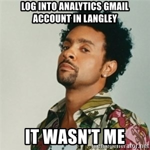 Shaggy. It wasn't me - Log into Analytics Gmail Account in Langley It wasn't me