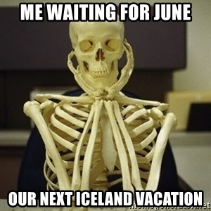 Skeleton waiting - Me waiting for June Our next iceland vacation