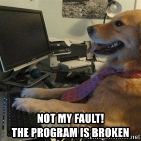 I have no idea what I'm doing - Dog with Tie - Not My fault!                                The program is broken