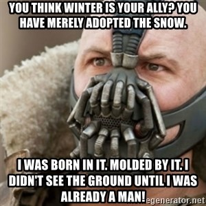Bane - You think winter is your ally? You have merely adopted the snow. I was born in it. Molded by it. I didn't see the ground until I was already a man!