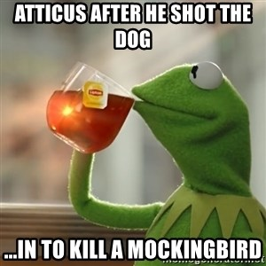 Kermit The Frog Drinking Tea - Atticus after he shot the dog  ...in To Kill a Mockingbird
