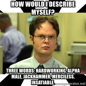 Dwight from the Office - How would i describe myself? Three words: hardworking, alpha male, jackhammer, merciless, insatiable.