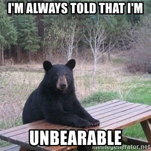 Patient Bear - I'm always told that I'm Unbearable