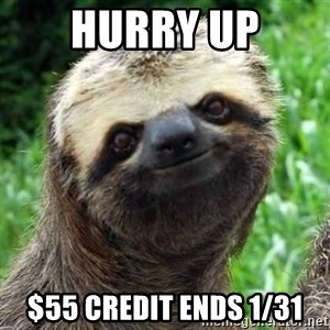 Sarcastic Sloth - Hurry UP $55 credit ends 1/31