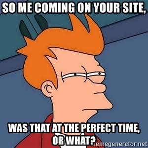 Futurama Fry - so me coming on your site, was that at the perfect time, or what?