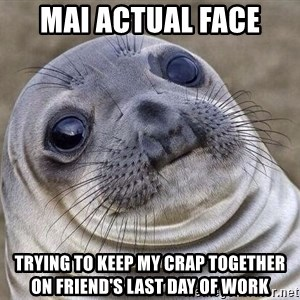 Awkward Seal - MAI ACTUAL FACE TRYING TO KEEP MY CRAP TOGETHER ON FRIEND'S LAST DAY OF WORK