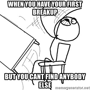Desk Flip Rage Guy - When you have your first breakup but you cant find anybody else