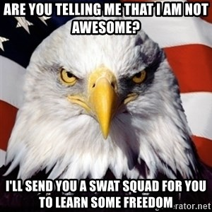 Freedom Eagle  - are you telling me that i am not awesome? i'll send you a swat squad for you to learn some freedom