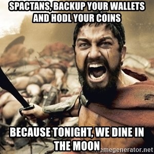 Spartan300 - SPACTANS, backup your wallets and HODL your coins  because tonight, we dine in the moon