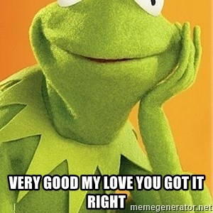 Kermit the frog - Very good my love you got it right