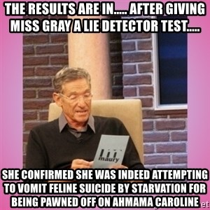 MAURY PV - The results are in..... After giving Miss Gray a lie detector test..... She confirmed she was indeed attempting to vomit feline suicide by starvation for being pawned off on Ahmama Caroline
