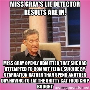 MAURY PV - Miss Gray's lie detector results are in.  Miss Gray openly admitted that she had attempted to commit feline suicide by starvation rather than spend another day having to eat the shitty cat food Chip bought