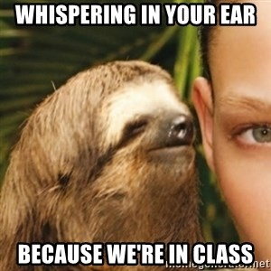 Whispering sloth - Whispering in your ear Because we're in class