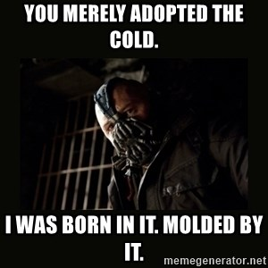 Bane Dark Knight - You merely adopted the cold. I was born in it. Molded by it.