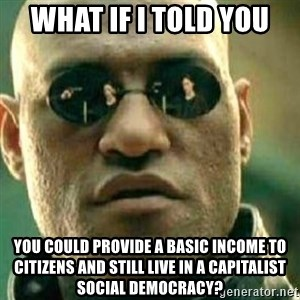 What If I Told You - What if I told you you could provide a basic income to citizens and still live in a capitalist social democracy?