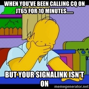 Homer Facepalm - When you've been calling CQ on JT65 for 10 minutes...... But your signalink isn't on
