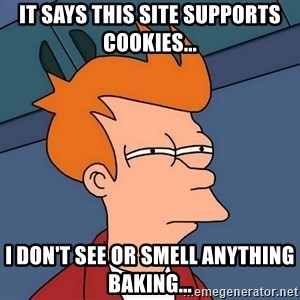 Futurama Fry - It says this site supports cookies... I don't see or smell anything baking...