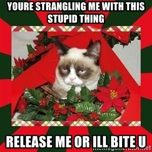 GRUMPY CAT ON CHRISTMAS - YOURE STRANGLING ME WITH THIS STUPID THING RELEASE ME OR ILL BITE U