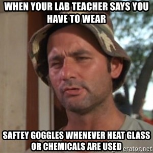 So I got that going on for me, which is nice - When your lab teacher says you have to wear  saftey goggles whenever heat glass or chemicals are used