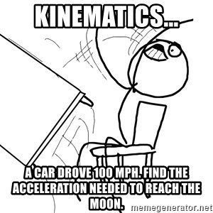 Desk Flip Rage Guy - Kinematics... A car drove 100 mph. Find the acceleration needed to reach the moon.