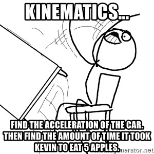 Desk Flip Rage Guy - Kinematics... Find the acceleration of the car. Then find the amount of time it took Kevin to eat 5 apples.