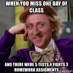 Willy Wonka - when you miss one day of class and there were 5 tests,4 fights 3 homework assigments