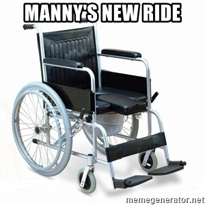 wheelchair watchout - Manny's new ride