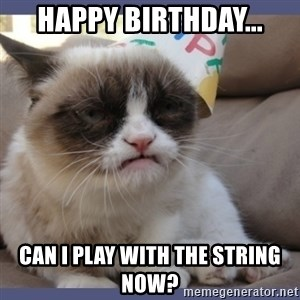 Birthday Grumpy Cat - Happy birthday... Can I play with the string now?