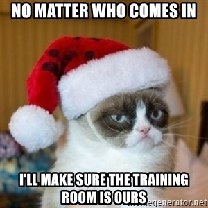 Grumpy Cat Santa Hat - No matter who comes in I'll make sure the training room is ours
