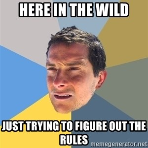 Bear Grylls - here in the wild just trying to figure out the rules