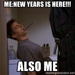 Bored sleeping Joey - Me:New years is here!!! Also me