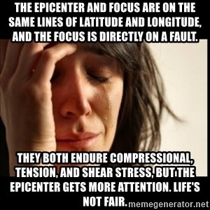 First World Problems - The epicenter and focus are on the same lines of latitude and longitude, and the focus is directly on a fault.  They both endure compressional, tension, and shear stress, but the epicenter gets more attention. Life's not fair.
