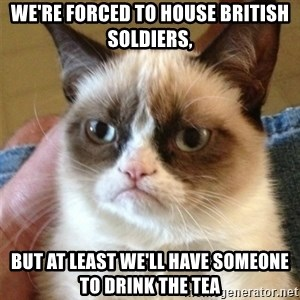 Grumpy Cat  - We're forced to house British soldiers, but at least we'll have someone to drink the tea