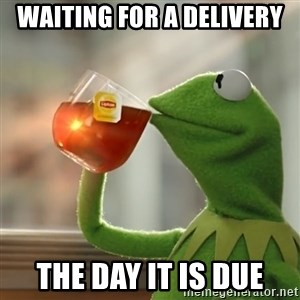 Kermit The Frog Drinking Tea - waiting for a delivery the day it is due