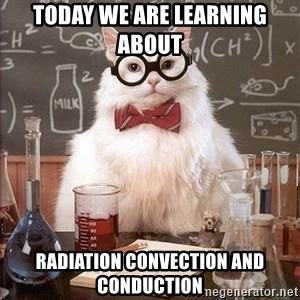 Science Cat - Today we are learning about  radiation convection and conduction