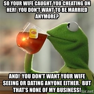Kermit The Frog Drinking Tea - SO your wife caught you cheating on her!  You don't want to be married anymore? AND!  You don't want your wife seeing or dating anyone either.  But that's none of my business!