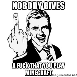 middle finger - Nobody gives  A fuck that you play Minecraft