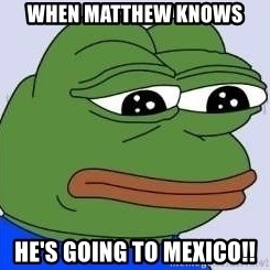 Sad Frog Color - When Matthew knows He's going to MEXICO!!