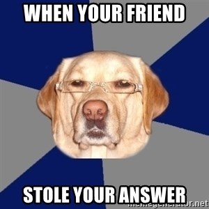 Racist Dawg - When your friend  stole your answer